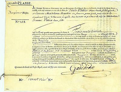 Königreich Frankreich, 300 Livres Staatsanleihe von 1733 + DRUCK AUF TIERHAUT!