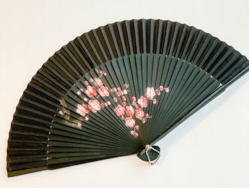 Spray painted Red Plum Flower Chinese hand folding silk fan handheld handfan
