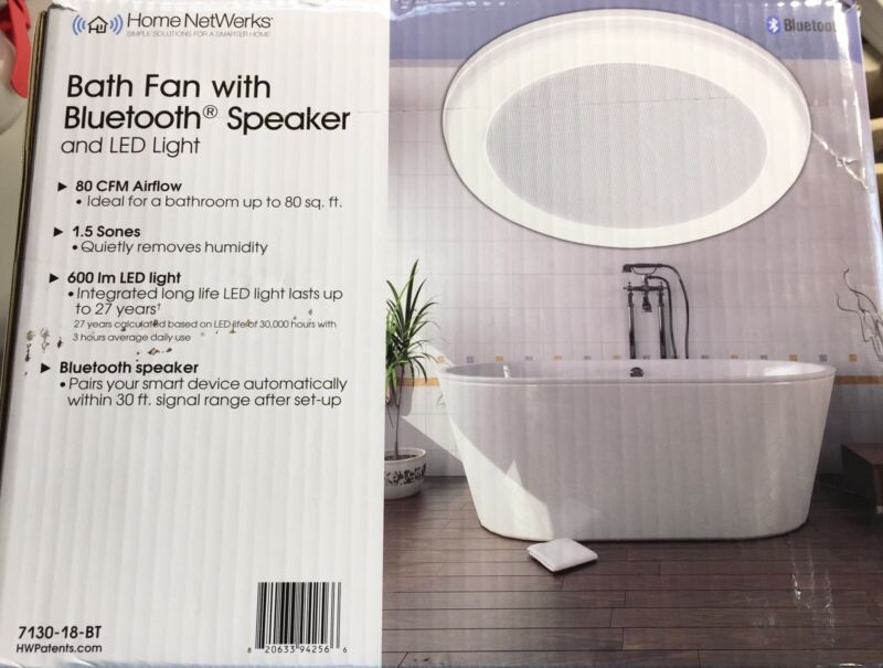 Home Netwerks Decorative White Ceiling Bluetooth Speaker Exhaust Fan LED Light