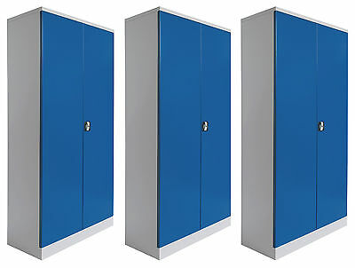 3 Blechschränke GS Büroschrank Aktenschrank Blechschrank Stahlschrank BLAU GRAU