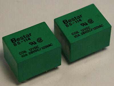 Bestar Bs-114-10a-12vdc 12v Dc Coil 10 Amp Spdt Miniature Pc Mount Relay 2 Pcs