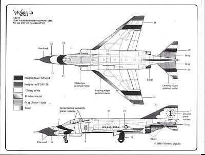 BL Warbird F-4E Phantom II, USAF Thunderbirds, 72-73 Team, Decals 1/48 017, used for sale  Alhambra