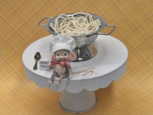"""Needle Felted """"Chef"""" Mouse With Spaghetti and Stainless Steel Colander!"""