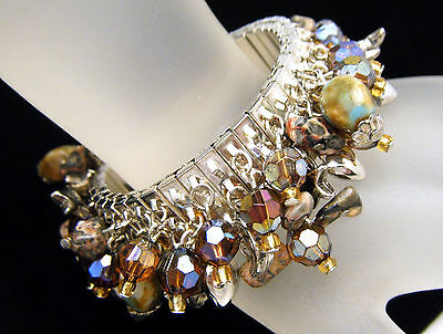 Vintage Expansion Bracelet Cha Cha Crystals Jasper More on Lookza