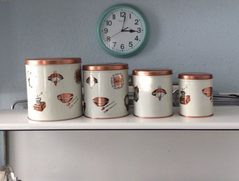 Vintage 4pc Aluminum White and Copper Finish Canister set