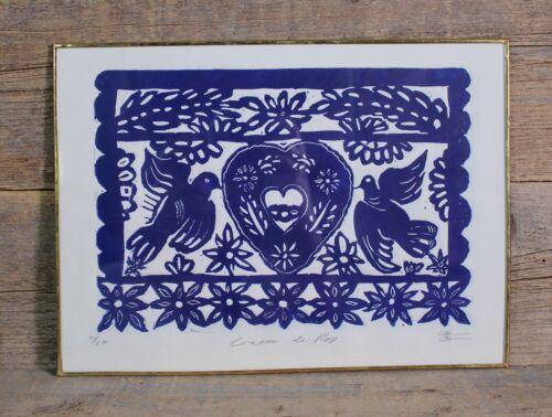 XL Woodcut Papel Picado Party Banner Framed Handmade Mexican Folk Art by Abelar