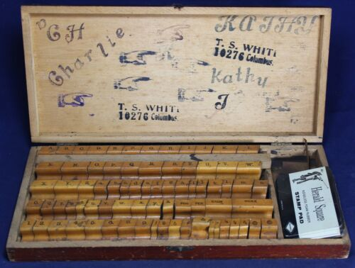 (75) Printer Wood Block w/ Rubber Stamps Alphabet & Numbers Set - Vintage