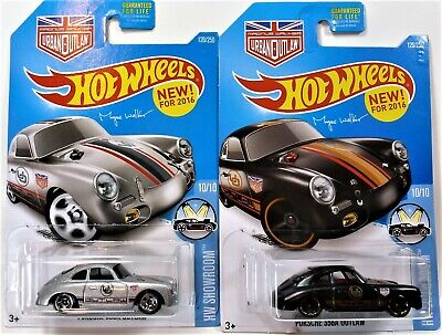HOT WHEELS TWO PORSCHE 356A OUTLAW VARIATIONS 2016 SHOWROOM SERIES FAST S&H 1/64