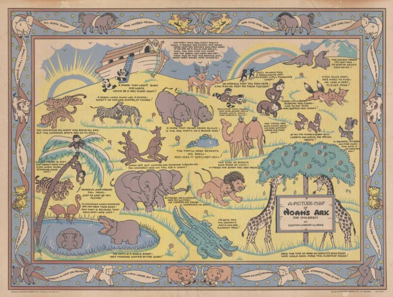 1930s Linscott Clarke Pictorial Map of Noah