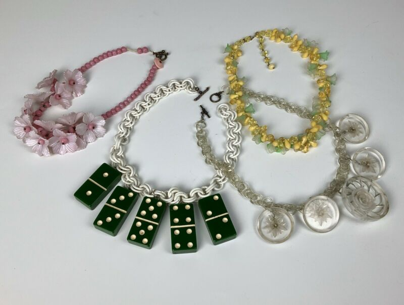 Lot Of 4  Vintage Bakelite, Lucite Necklaces Dominos, Flowers