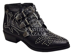 WOMENS LADIES LOW HEEL STUD STUDDED BUCKLE PIXIE RIDING ANKLE BOOTS SHOES SZ 3-8
