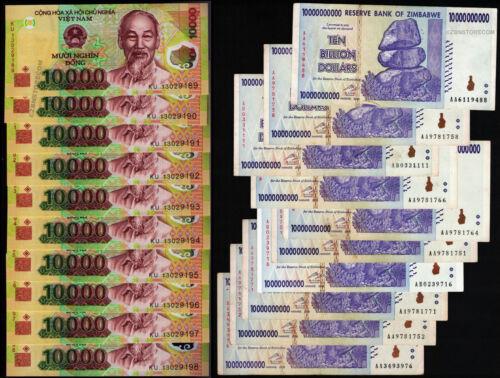 10 x 10 Billion Zimbabwe Dollars + 10 x 10000 Vietnam Dong Bank Notes Mixed Set