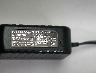 ORIGINAL SONY 12V 200mA AC-MS1202C REPLACEMENT AC Adapter for/from MDR-RF995RK  for sale  Shipping to India
