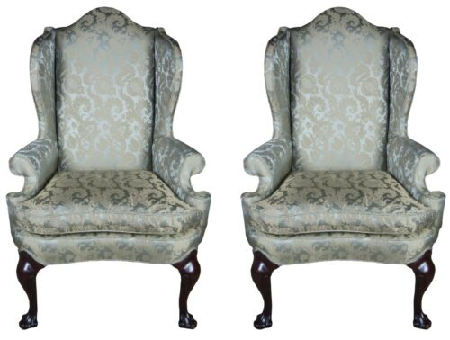 Pair of 2 Vintage Chippendale Mahogany Wingback Accent Arm Chairs Georgian