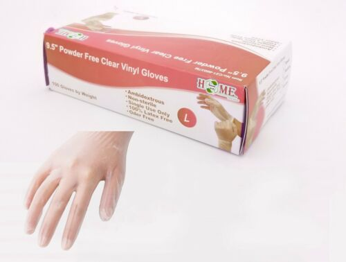 "9.5"" Single-Use Powder Free Clear Vinyl Gloves,Ambidextrous, Non-Sterile,100 pcs"
