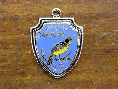 Vintage silver SOUTH CAROLINA STATE WREN BIRD ENAMEL TRAVEL SHIELD charm #E3