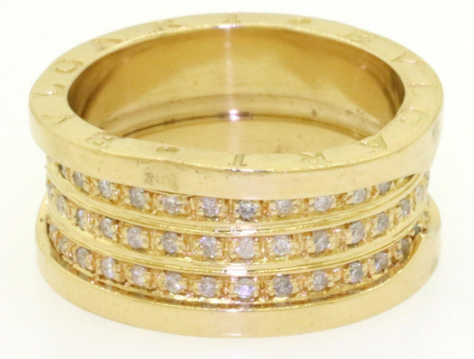 Bvlgari heavy 18K YG 1.0CT diamond 10.3mm wide 3-row eternity band ring size 8