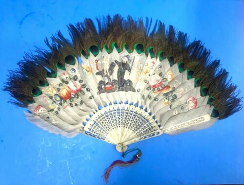 Antique Chinese Painted  Peacock Feather Fan With Bovine Bone Carved Sticks