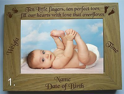 "PERSONALISED ENGRAVED NEW BABY/ BABY SCAN WOODEN 4"" X 6"" PHOTO/PICTURE FRAME"