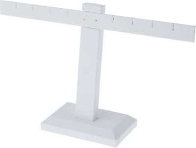 Plymor White Faux Leather T-bar Four Pair Earring Display Stand 10.25 W X 6h