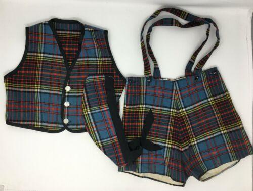 Vintage Boys Wool Plaid Outfit Shortalls Shorts Suspenders Vest & Hat Cat