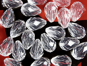 100 x CRYSTAL CLEAR~TEARDROP~FACETED~TRANSPARENT~ACRYLIC BEADS, 14 x 10  MM