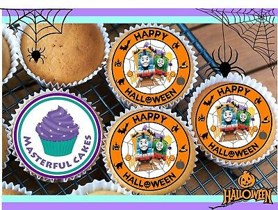 24 HALLOWEEN THOMAS CUPCAKE TOPPER RICE,WAFER,ICING OR PRECUT OPTIONS
