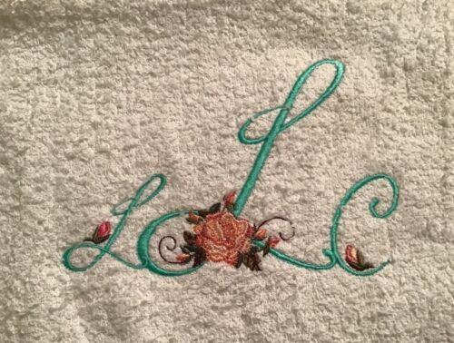 Rose Embellished Monogrammed Bath Towel, machine embroidered
