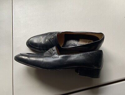 Men's Vintage Gucci Dress Shoes Black Leather Loafer Authentic Size 9.5 /42