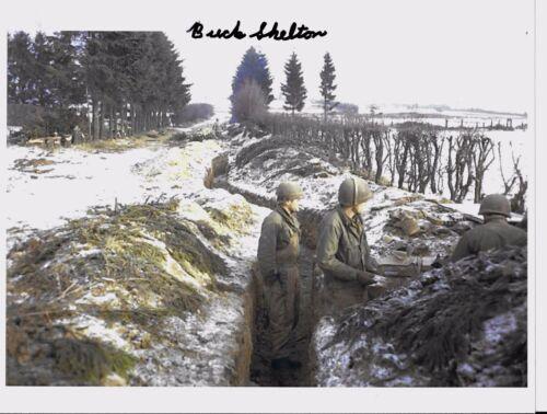 BUCK SHELTON 99TH INFANTRY DIVISION BATTLE OF THE BULGE VET RARE SIGNED PHOTO