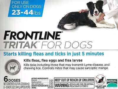 Frontline Tritak Flea Lice Tick Remedy for Dogs 23-44 lbs 6 Month Dose