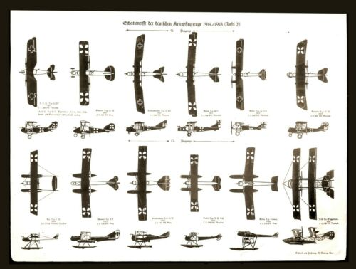 RARE and Superb Antique c.1918  German Aircraft Identification Poster WWI 14x18