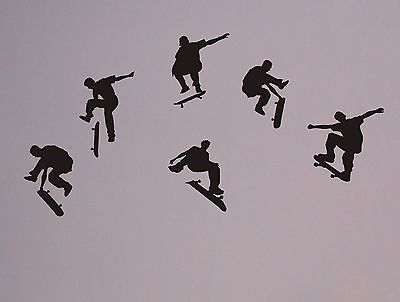 Skateboarders Wall Decal set removable skater stickers decor mural (Skateboard Wall Murals)