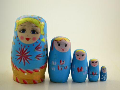 VTG 5pcs.Wood Doll Matrjoschka Matroschka Matreschka Matryoshka Babushka Russia