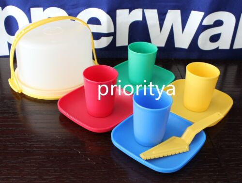 Tupperware Kids Toy 10 Pc Mini Tumbler Plate Cake Taker Party Set New in Package