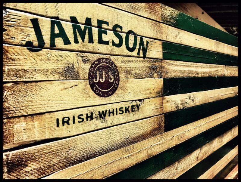 JAMESON IRISH WHISKEY Rustic Wooden  Flag