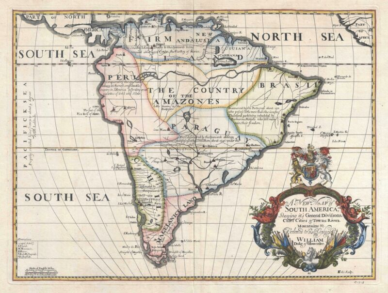 1700 Wells Map of South America
