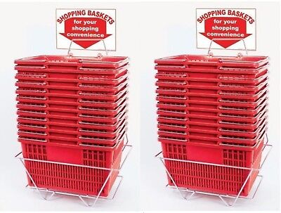 New 24 Standard Shopping Baskets - Chrome Handles - Metal Stand And Sign - Red