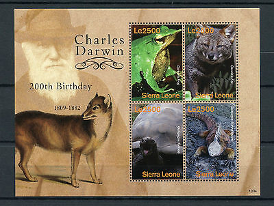 Sierra Leone 2010 MNH Charles Darwin 200th Bday 4v M/S Frogs Lizards Stamps