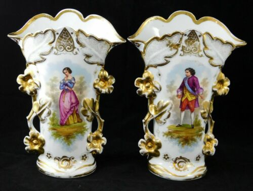 Antique Pair of Hand Painted French Porcelain Spill Vases Figural Heavy Gold