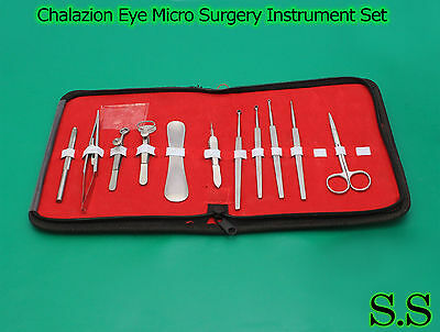 11 Pieces Chalazion Eye Micro Surgery Instrument Set In Pouch Ds-915