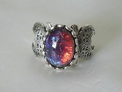 Dragons Breath Fire Opal Triple Moon Ring, wiccan pagan wicca witch witchcraft (Witches Ring)