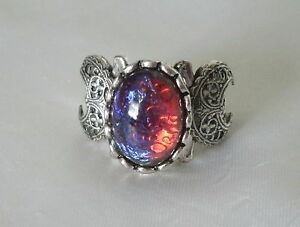Dragons Breath Fire Opal Triple Moon Ring Wiccan Pagan Wicca Witch Witchcraft