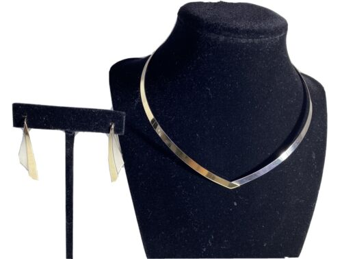 HTF Vintage ED LEVIN Two Tone V Collar Necklace Earrings Sterling Silver/ 14k - $210.00