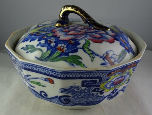 Antique Mason's Patent Ironstone China Covered Bowl With Insert/Liner