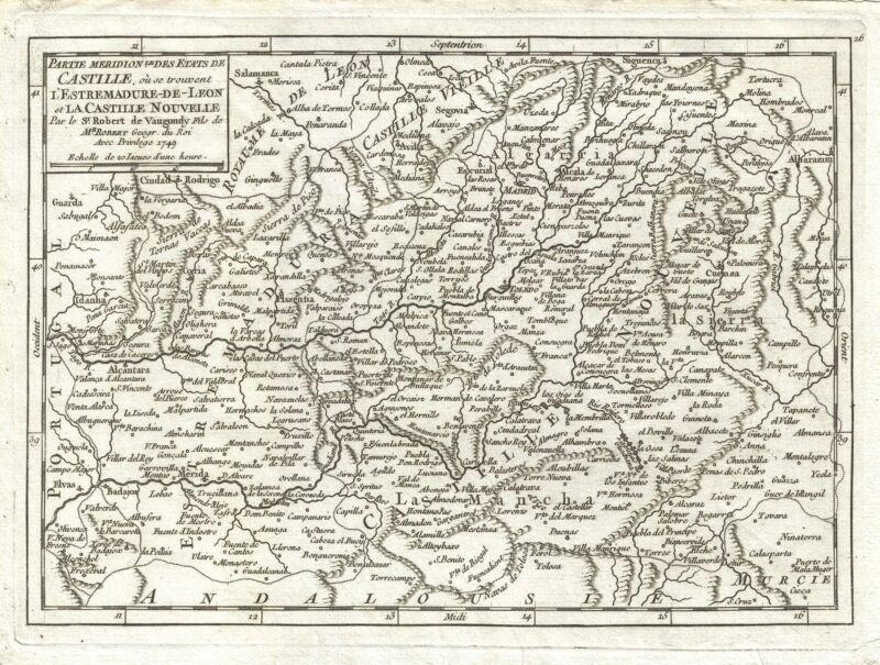 1749 Vaugondy Map of Castile, Spain