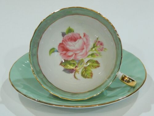 1950s AYNSLEY Large PINK CABBAGE ROSE CUP & SAUCER Sage Green Colorway Exc Cond