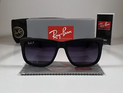 New Ray-Ban POLARIZED Justin RB4165 622/T3 54MM Wayfarer Matte Black/Gradient