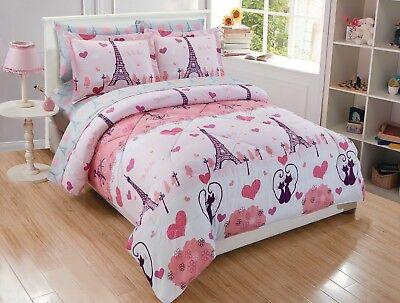 Fancy Linen 7pc Queen Size Comforter Set Eiffel Tower Paris Hearts Pink Grey New ()