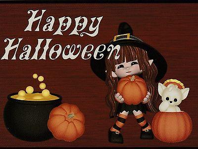 * Postkarte Happy Halloween - Little Girl W 3 Kleine Kürbisse (V-23) ()